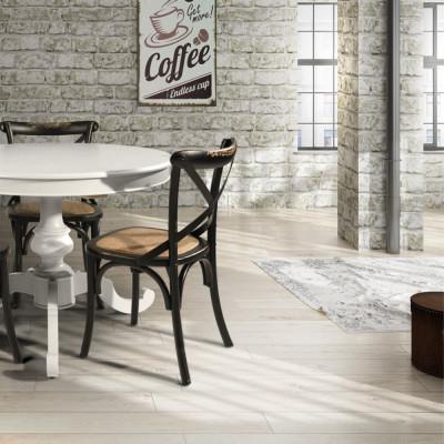 Table ronde extensible en bois massif, 1 à 40 cm de couleur blanche