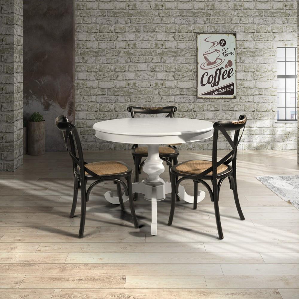 Tavolo rotondo allungabile in legno