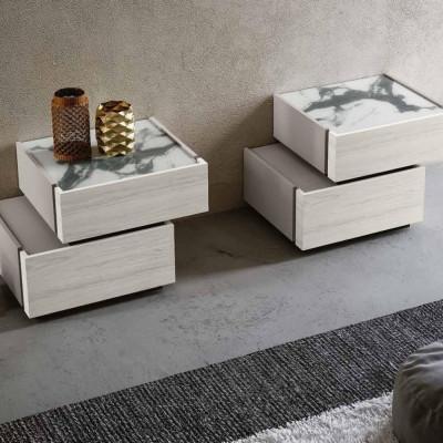 Groupe Medea structure gris frêne, tiroirs altea blanc, plateau marbre noir ou blanc