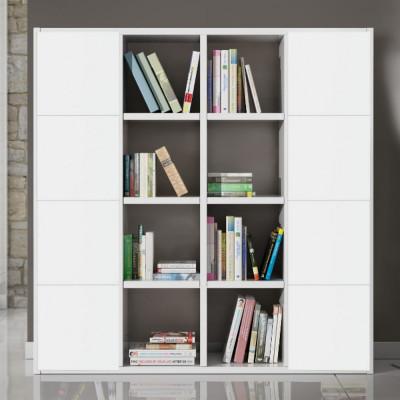Libreria moderna Boston laminato frassinato colore bianco L 175 P 30 H 175 cm