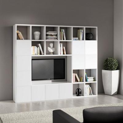 Parete libreria Boston laminato frassinato colore bianco L 261 P 30 H 218 cm