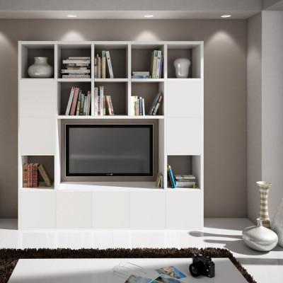 Parete libreria Boston laminato frassinato colore bianco L 218 P 30 H 218 cm
