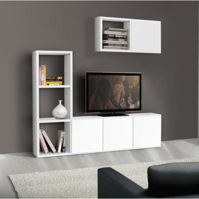 Carla TV bookcase in white ash laminate W 175 D 30 H 132 cm