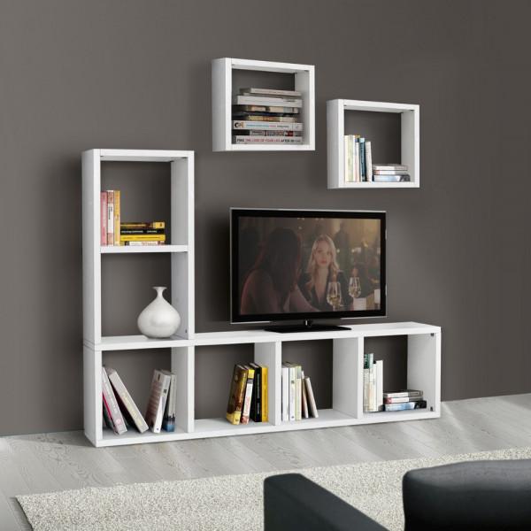 Libreria porta tv Carla laminato frassinato colore bianco L 175 P 30 H 132 cm