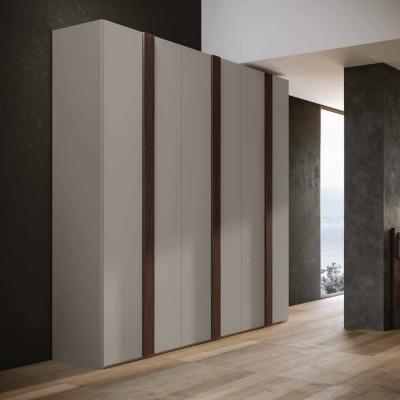 Armoire de chambre Alba avec portes battantes et lit avec base fixe