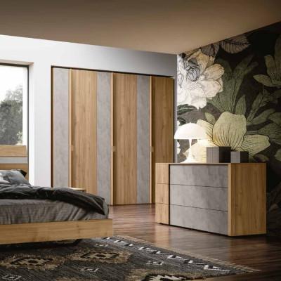 Chambre Dafne armoire portes battantes lit avec base fixe