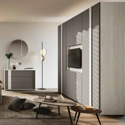 Camera da letto Cloè armadio porta tv letto contenitore