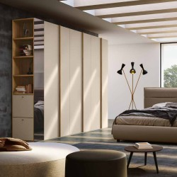 Alma bedroom Hinged wardrobe and end bookcase with shoe rack Eco-leather bed