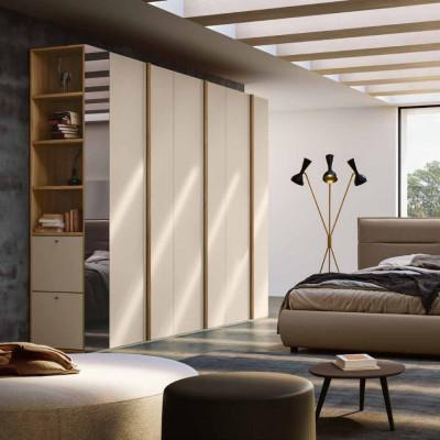 Camera da letto Alma Armadio battente e libreria terminale con portascarpe Letto ecopelle