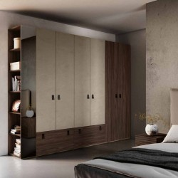 Bedroom Fiorenza hinged wardrobe with eco-leather bed basket