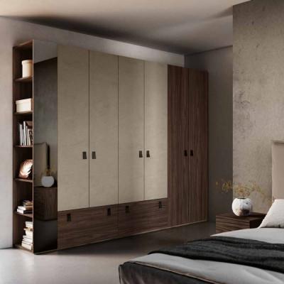 Chambre à coucher Fiorenza penderie avec corbeille de lit en éco-cuir