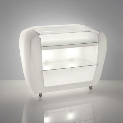 Luminous bar counter with beer dispenser and ROLLER BAR wheels design Gerd Van Cauteren