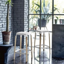 Magis Fixed stool with seat in painted steel with White Steelwood finish