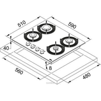 FRANKE FHMF 604 4G C WH Table de cuisson cristal à gaz 4 feux Allumage du brûleur électrique