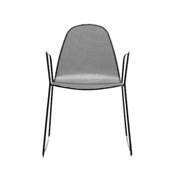 Chaise d'extérieur Camilla 2 avec structure, assise et dossier en acier pré-galvanisé, couleur anthracite