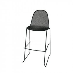 Camilla 75 outdoor stool with structure, seat and back in pre-galvanized steel, anthracite color