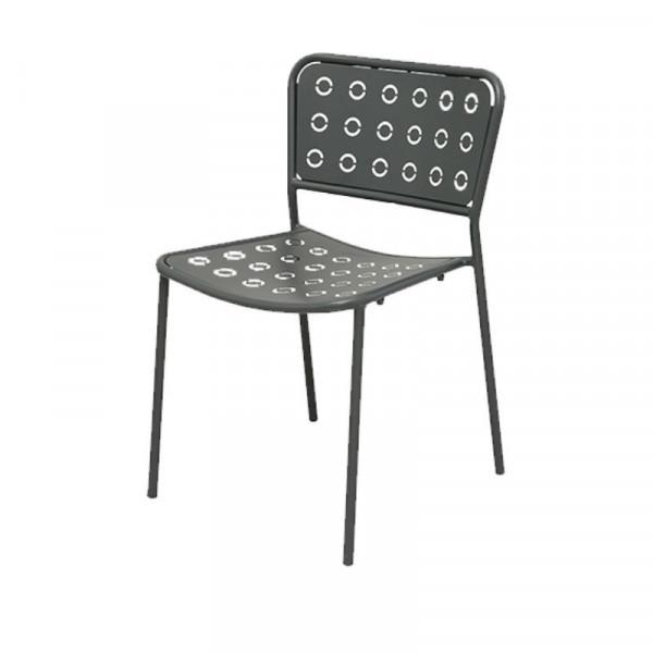 Chaise d'extérieur Pop 1 avec assise et dossier en acier pré-galvanisé, couleur anthracite