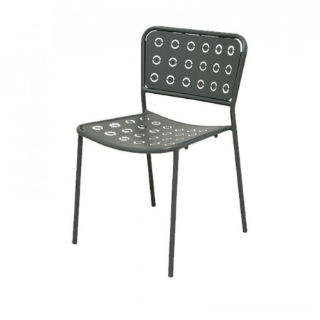Pop 1 outdoor chair with seat and back in pre-galvanized steel, anthracite color