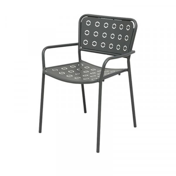 Chaise d'extérieur Pop 2, avec accoudoirs, structure assise et dossier en acier pré-galvanisé, couleur anthracite