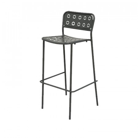 Pop 75 outdoor stool seat and back structure in pre-galvanized steel, anthracite color