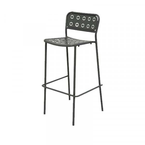 Tabouret d'extérieur Pop 75 structure assise et dossier en acier pré-galvanisé, couleur anthracite