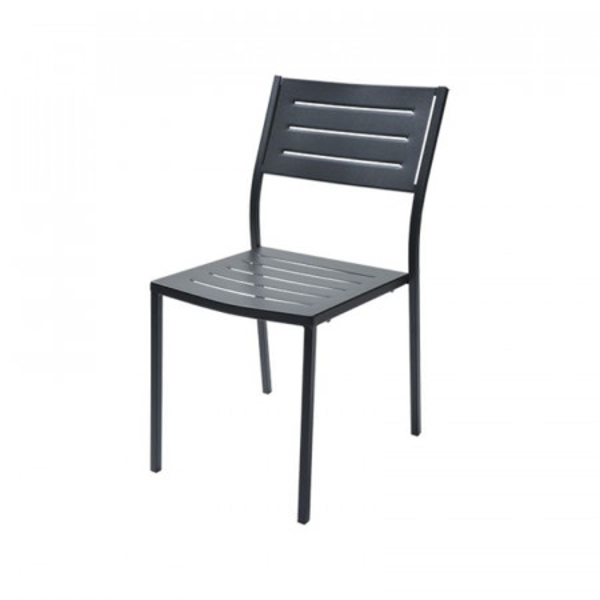 Chaise d'extérieur Dorio 1 structure, assise et dossier en acier pré-galvanisé, couleur anthracite