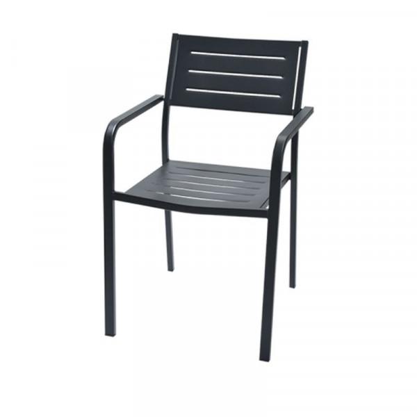 Chaise d'extérieur Dorio 2, avec accoudoirs, structure, assise et dossier en acier pré-galvanisé, couleur anthracite
