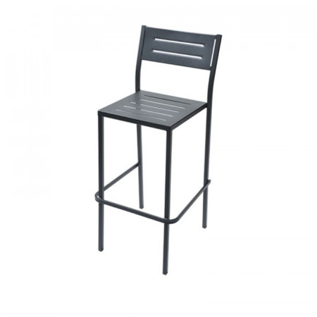 Dorio 75 outdoor stool seat and back structure in pre-galvanized steel, anthracite color