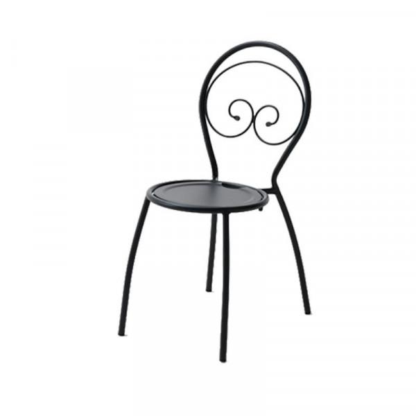 Chaise d'extérieur Fiona 1, structure, assise et dossier en acier pré-galvanisé, couleur anthracite