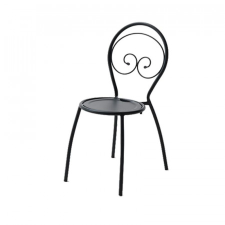 Fiona 1 outdoor chair, structure, seat and back in pre-galvanized steel, anthracite color