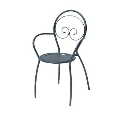Chaise d'extérieur Fiona 2 avec accoudoirs, structure, assise et dossier en acier pré-galvanisé, couleur anthracite