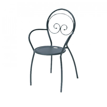 Fiona 2 outdoor chair with armrests, structure, seat and back in pre-galvanized steel, anthracite color