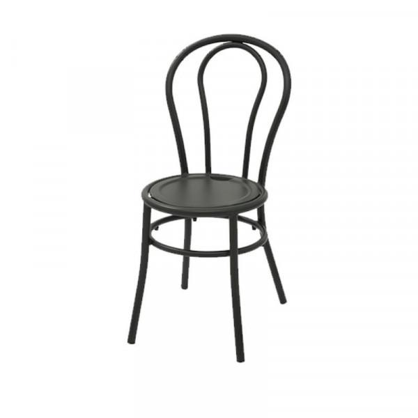 Chaise de bistrot avec structure en acier pré-galvanisé couleur anthracite, empilable