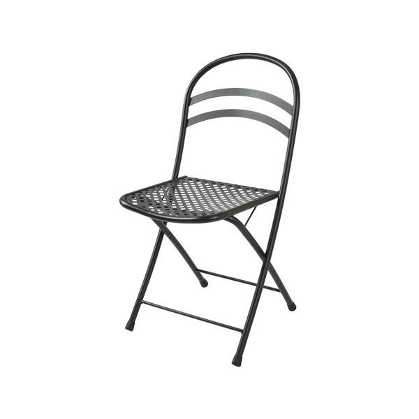 Sedia da esterno Flipper, struttura, seduta e schienale in acciaio pre-zincato, colore antracite e bianco