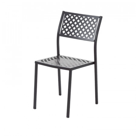 Lola 1 outdoor chair, structure, seat and back in pre-galvanized steel, anthracite color
