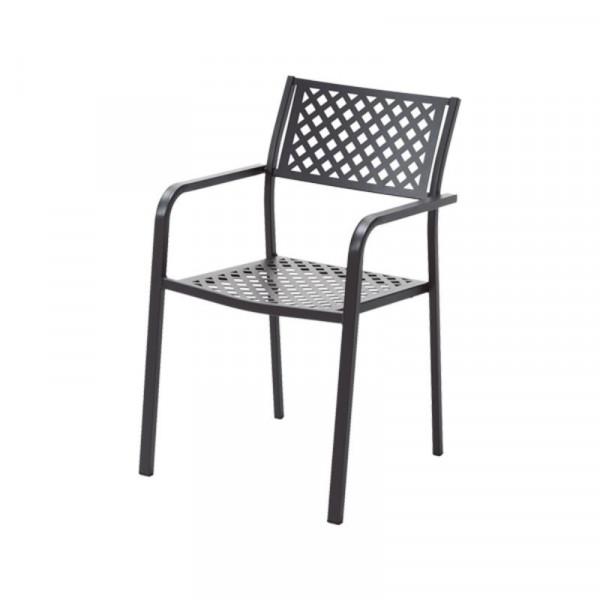 Chaise d'extérieur Lola 2 avec accoudoirs, structure, assise et dossier en acier pré-galvanisé, couleur anthracite