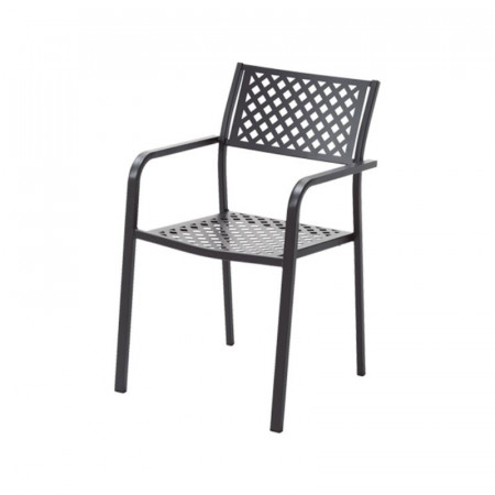 Lola 2 outdoor chair with armrests, structure, seat and back in pre-galvanized steel, anthracite color