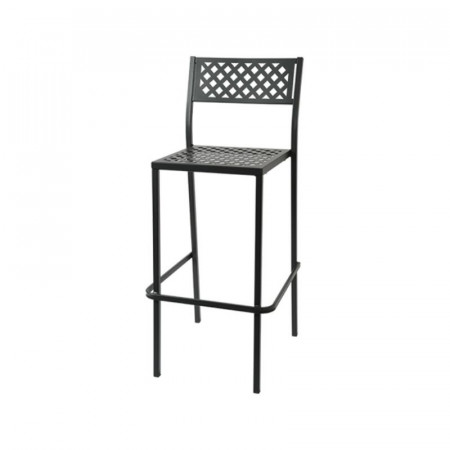 Lola 75 outdoor stool seat and back structure in pre-galvanized steel, anthracite color