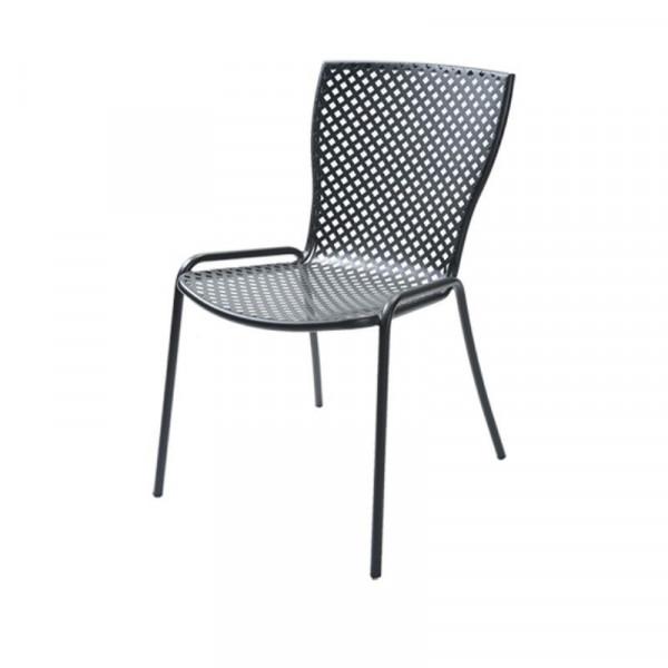 Chaise d'extérieur Sonia 1 structure, assise et dossier en acier pré-galvanisé, couleur anthracite