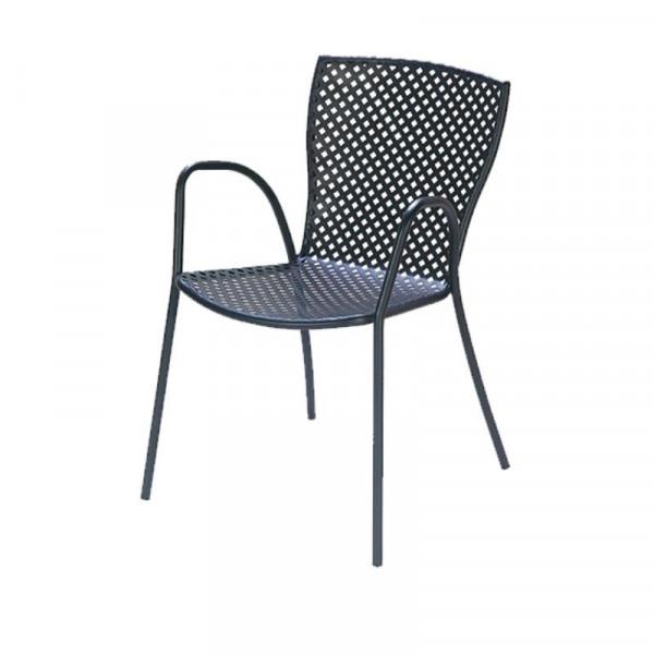 Chaise d'extérieur Sonia 2 avec structure, assise et dossier en acier pré-galvanisé, couleur anthracite