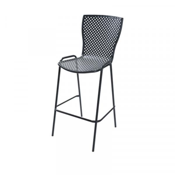 Tabouret d'extérieur Sonia 75 avec structure, assise et dossier en acier pré-galvanisé, couleur anthracite