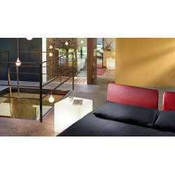 Slide , Cubo 20 floor, table and suspension lamp in polyethylene