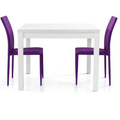 Tavolo Patrick 2 struttura e piano in laminato frassinato, apertura a libro, colore bianco
