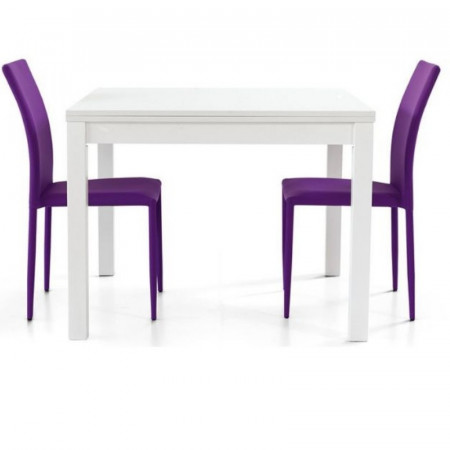 Patrick 2 table structure and top in ash laminate, book opening, white color
