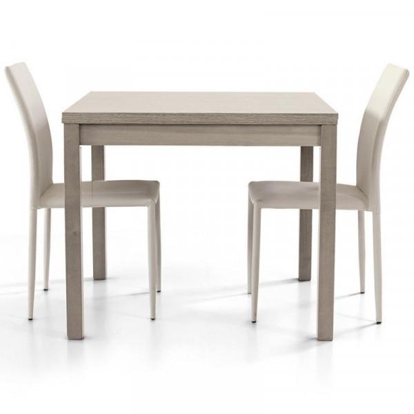 Tavolo Patrick 1 con struttura e piano in laminato rovere grigio, apertura a libro