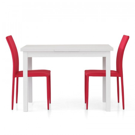 Frya table with 2 extensions of 40 cm, structure and top in white ash