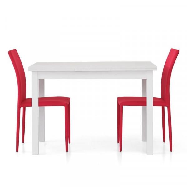 Tavolo Frya con 2 allunghe da 40 cm, struttura e piano frassinato bianco