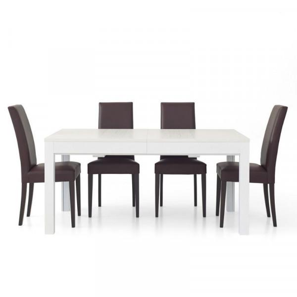 Tavolo rettangolare Lars 1 in laminato frassinato bianco, con 4 allunghe da 43
