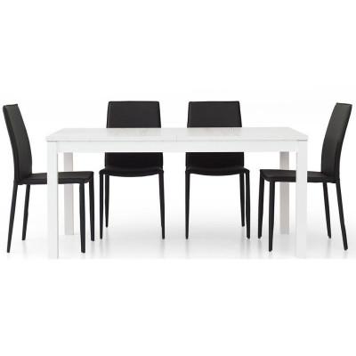 Tavolo moderno Fans 1 in laminato frassinato bianco, rettangolare