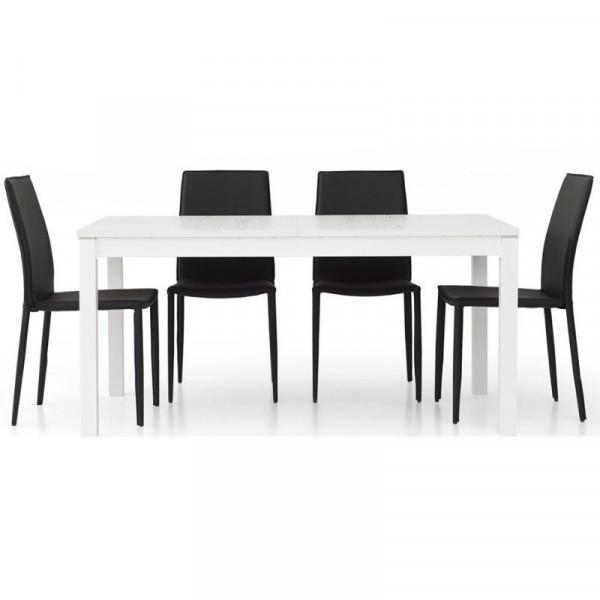 Fans 1 modern table in white ash laminate, rectangular